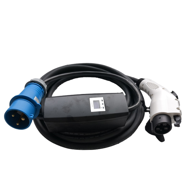 Nissan leaf 16A type 1 portable EV charger with blue CEE plug
