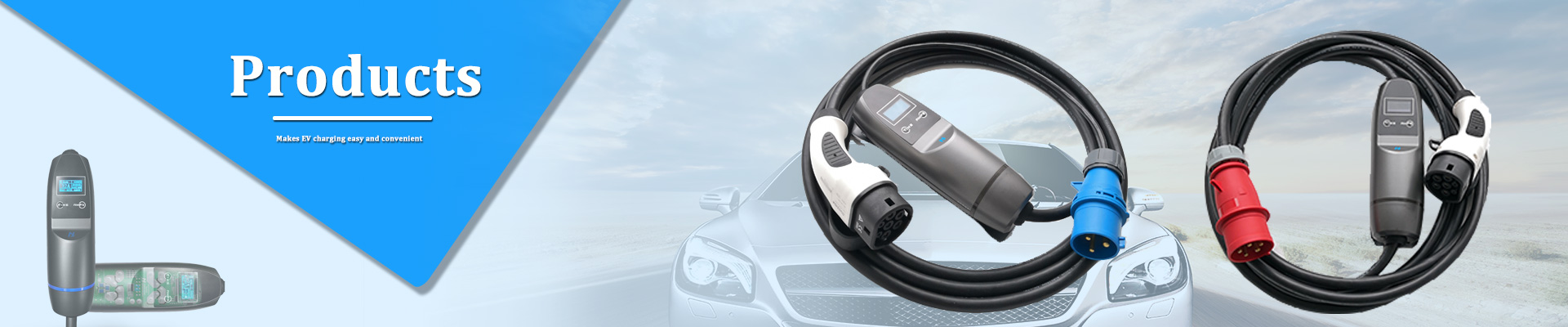 Khons 32A IEC-62196 portable evse charger with blue CEE for electric cars